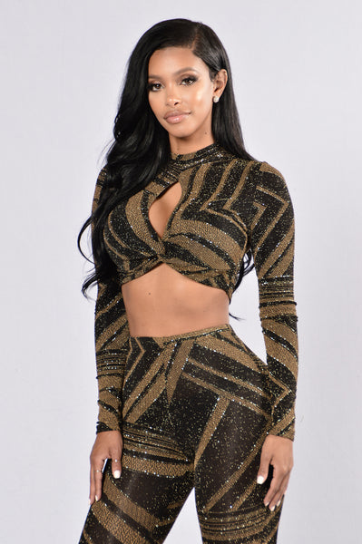 Party Bus Top - Black/Gold