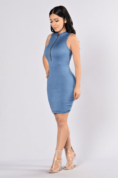 A Line of My Love Dress - Medium Wash