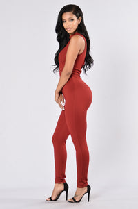 Naked Kiss Jumpsuit - Burgundy