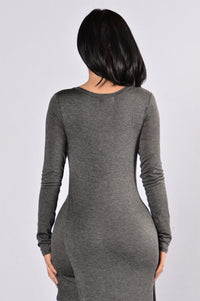 Casual Date Dress - Grey