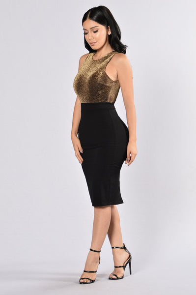 Heart of Gold Dress - Gold/Black