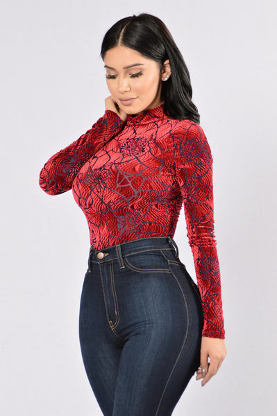 Shattered Heart Bodysuit - Burgundy