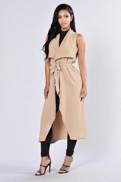 I'm So Fancy Trench Coat - Taupe
