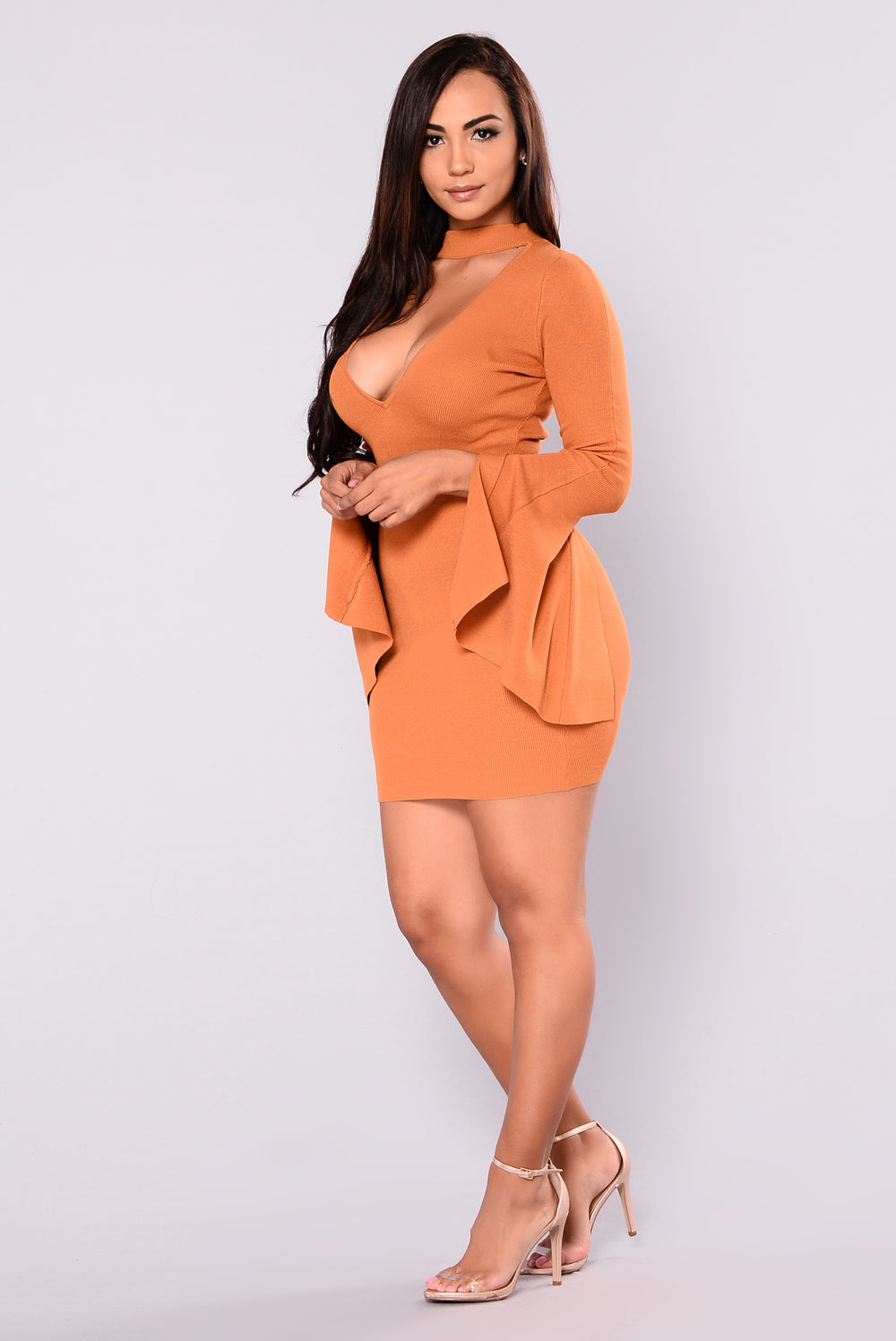 City Bell Sleeve Dress - Pumpkin