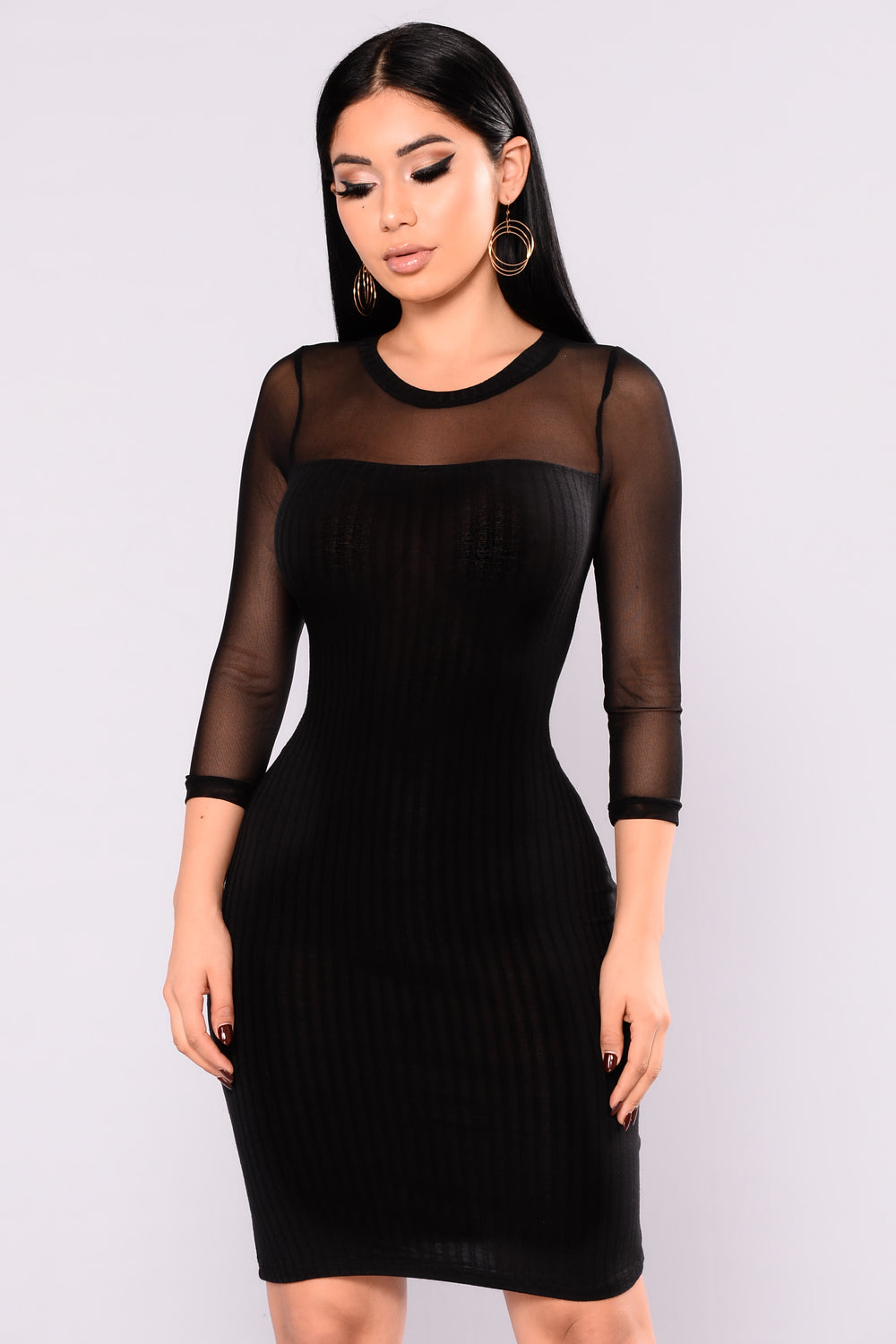 Gianna Mesh Dress - Black
