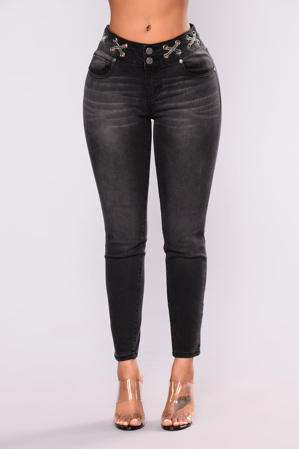 Lara Lace Up Skinny Jeans - Black