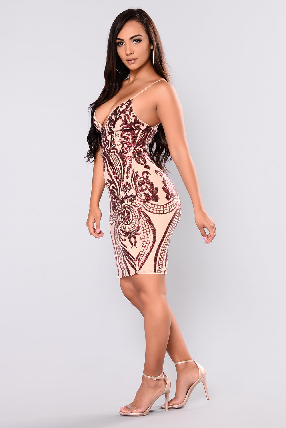 Ashe Sequin Dress - Burgundy