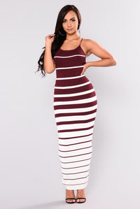 Albany Knit Dress - Burgundy/White Angle 1