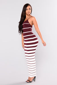 Albany Knit Dress - Burgundy/White Angle 3