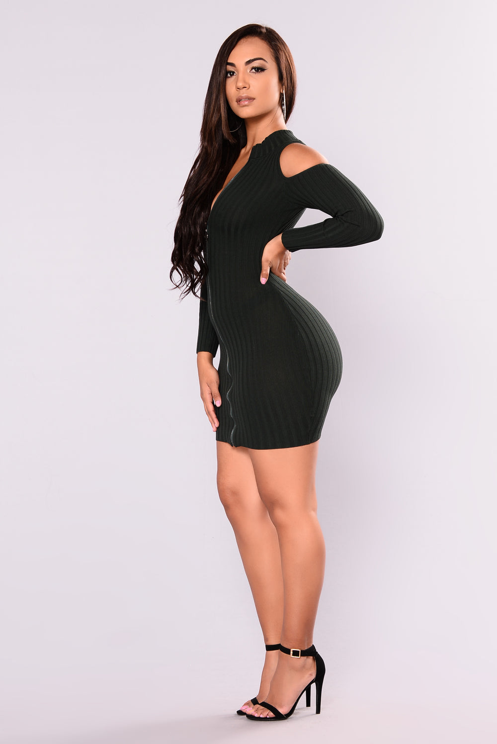 Relationship Status Cold Shoulder Dress - Hunter