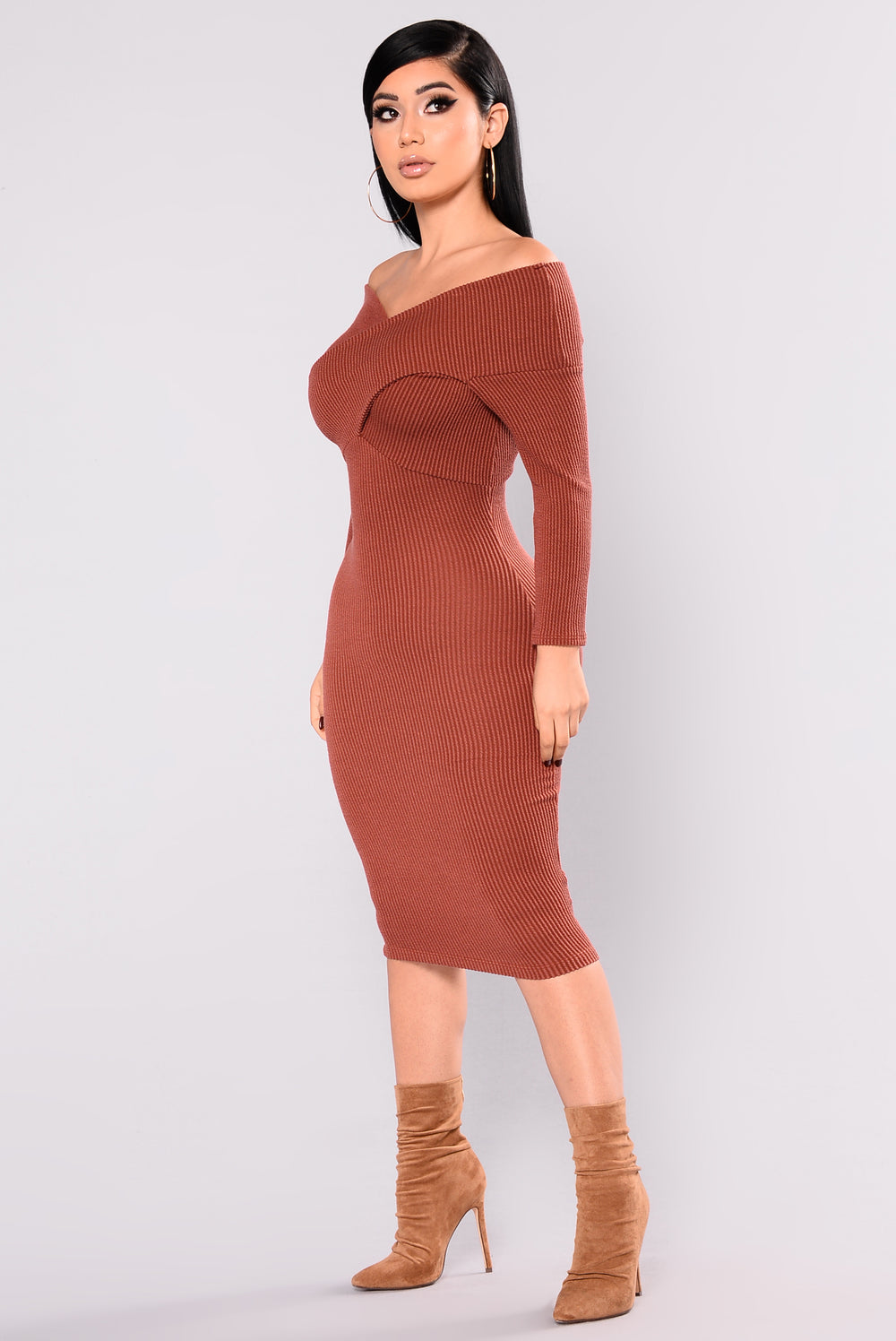 Cool Breeze Midi Dress - Marsala