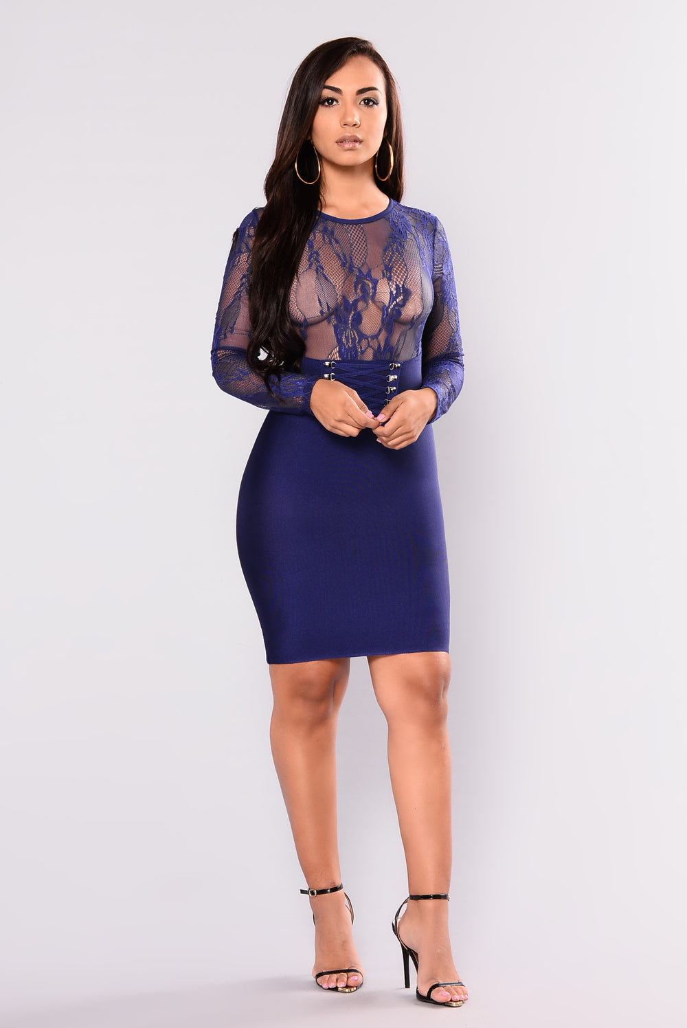 Leave A Trace Bandage Dress - Navy