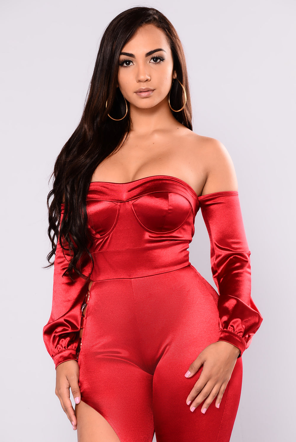 Life Is A Movie Satin Jumpsuit - Burgundy