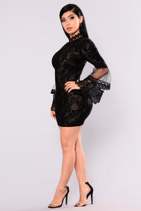 Hidden Meadow Velvet Crochet Dress - Black