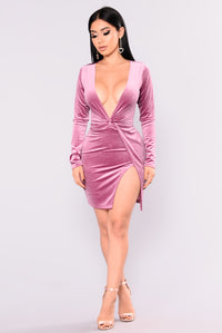 Sugar Coat Velvet Dress - Rose