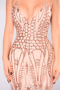 All Over The World Sequin Dress - Rose Gold