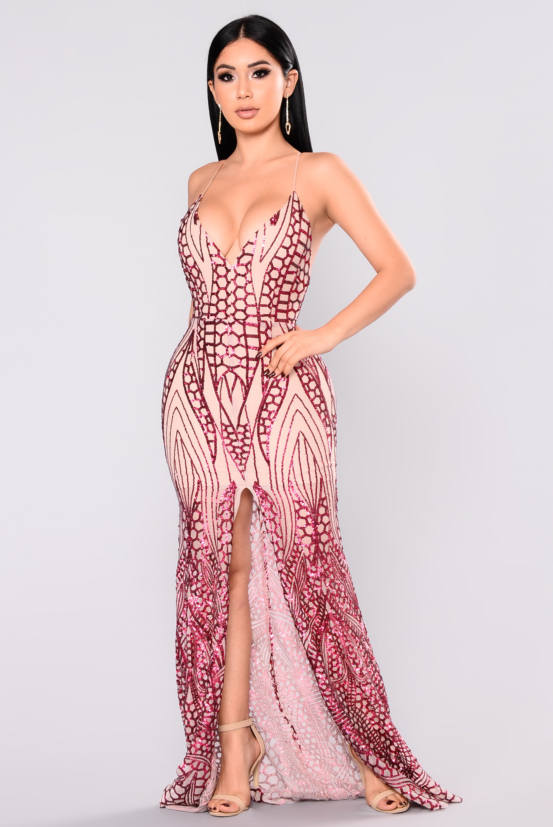 all over the world sequin dress  wine
