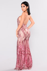 All Over The World Sequin Dress - Wine