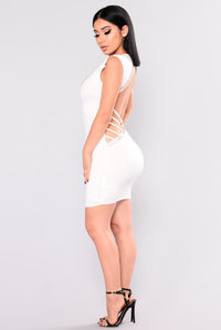 Dream Away Rhinestone Dress - White