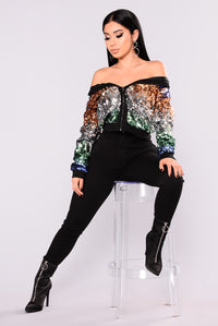 Sequin Bomber Jacket - Gold/Blue