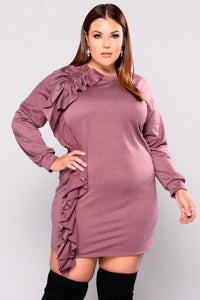 Berry Naughty ruffle Dress - Dark Mauve