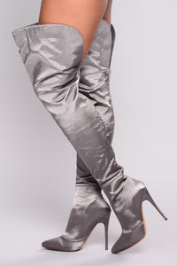 Satin Nights Over The Knee Boot - Grey