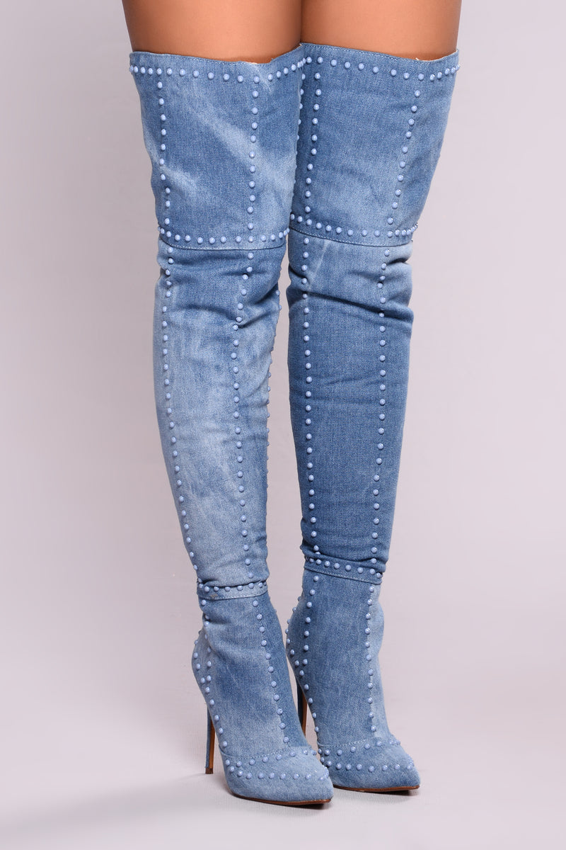 Rich Stud Heel Boot - Denim