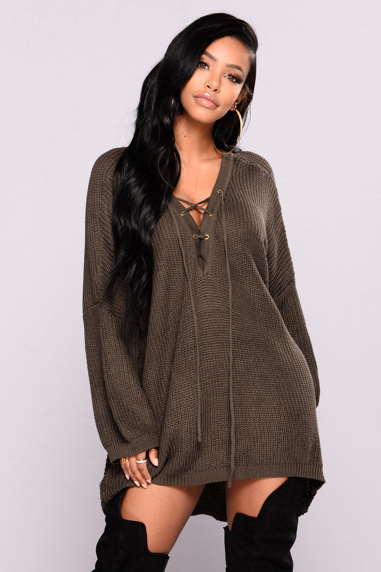 Birch Lace Up Sweater - Olive