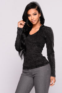 Hazel Acid Wash Hoodie Top - Black