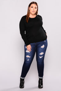 About To Follow Lace Up Sweater - Black