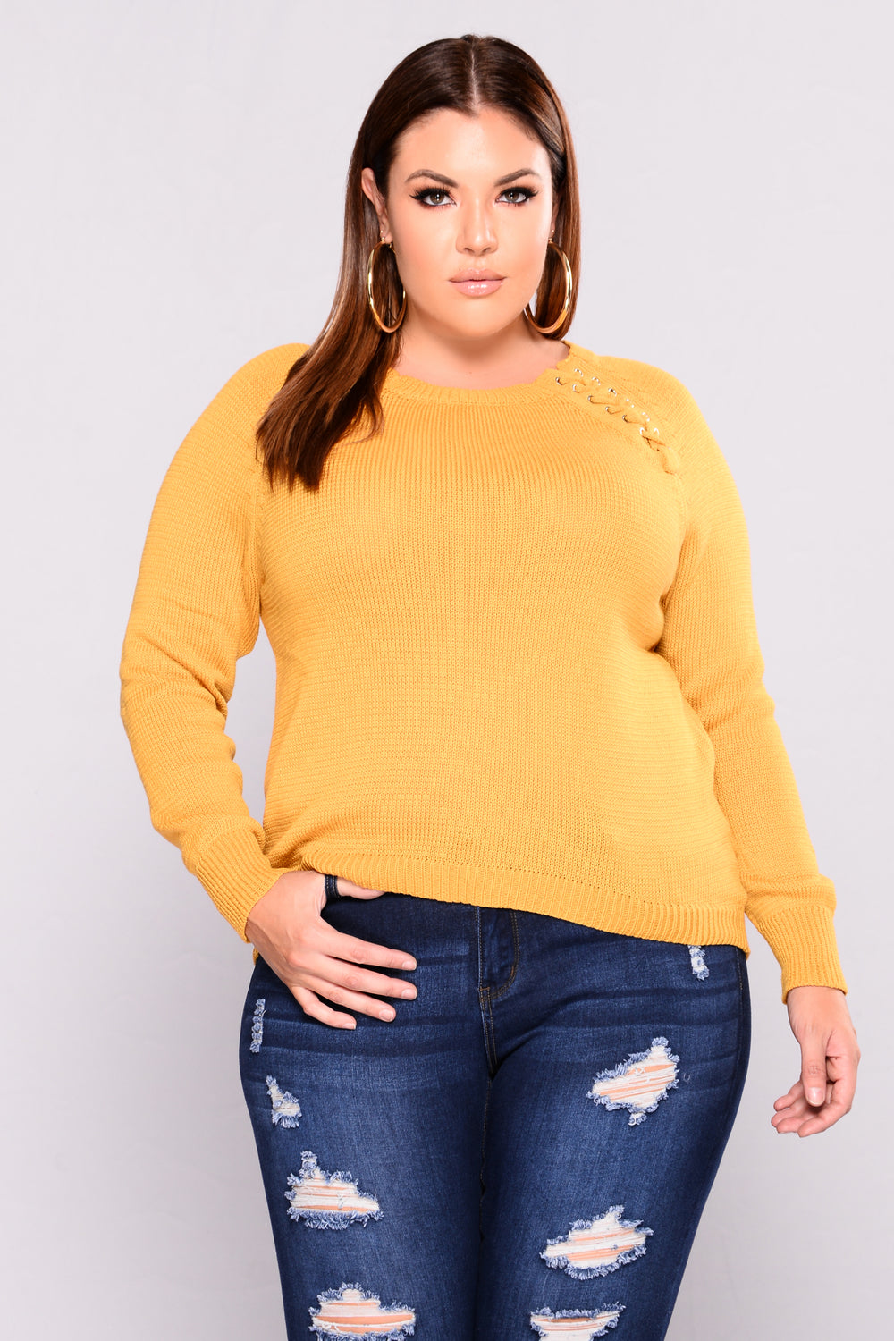 About To Follow Lace Up Sweater - Mustard