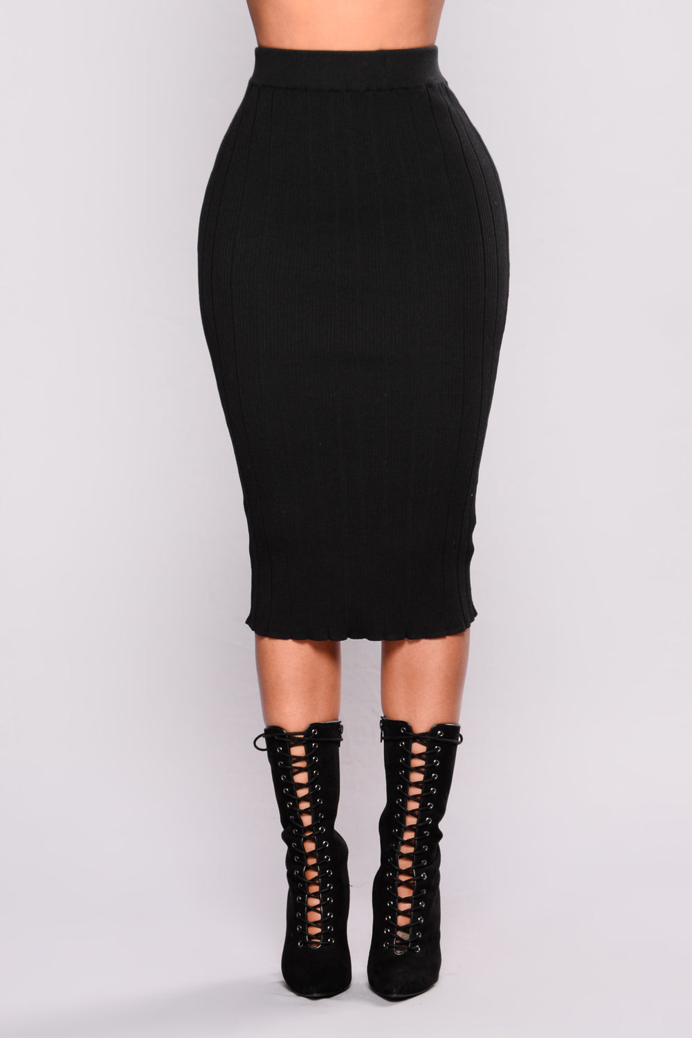 Guilty Pleasure Ribbed Skirt - Black