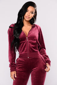 The Original Trendsetter Velour Jacket - Burgundy