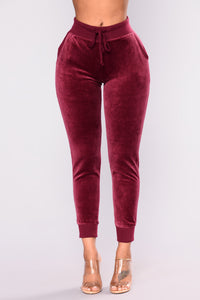 The Original Trendsetter Velour Pants - Burgundy