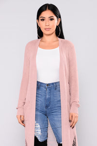 Bethany Distressed Cardigan - Mauve