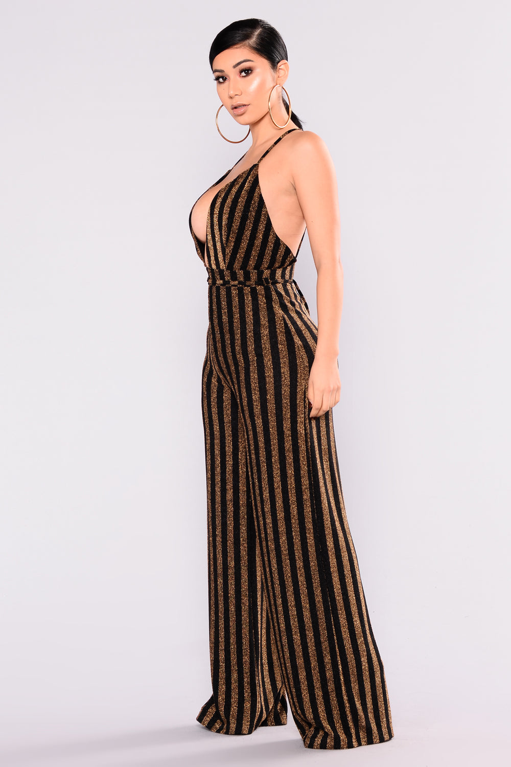 Kenna Metallic Jumpsuit - Black/Gold
