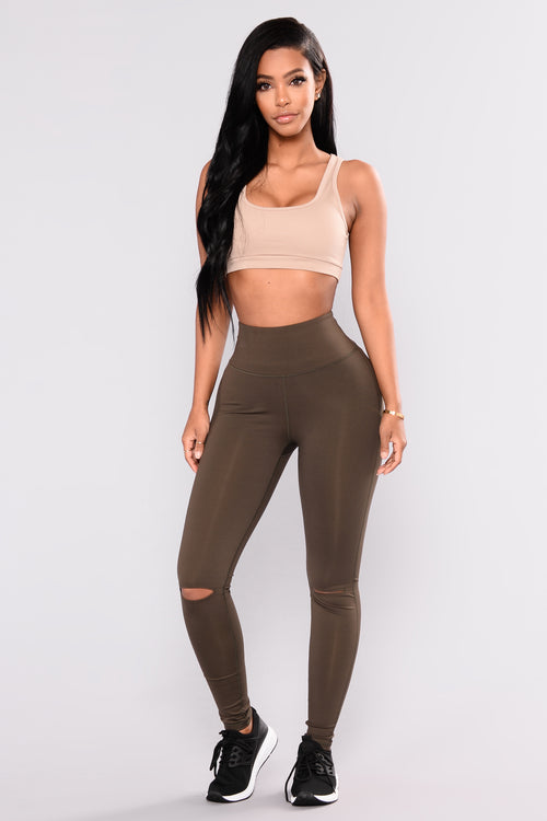 Active Knee Slit Leggings - Olive