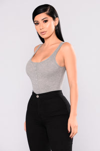 Oh Snap Tank Bodysuit - Grey