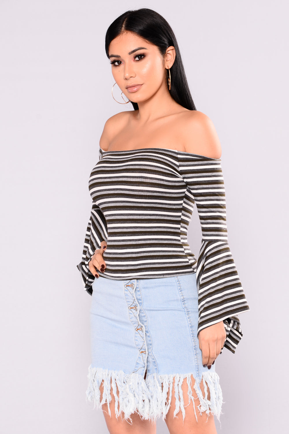 Everly Off Shoulder Top - Olive/Combo
