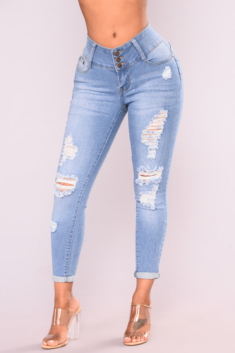 Shake It Enthusiastically Booty Lifting Jeans - Light Blue