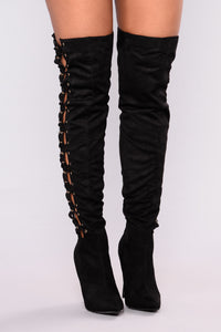 All Lace Up Heel Boot - Black