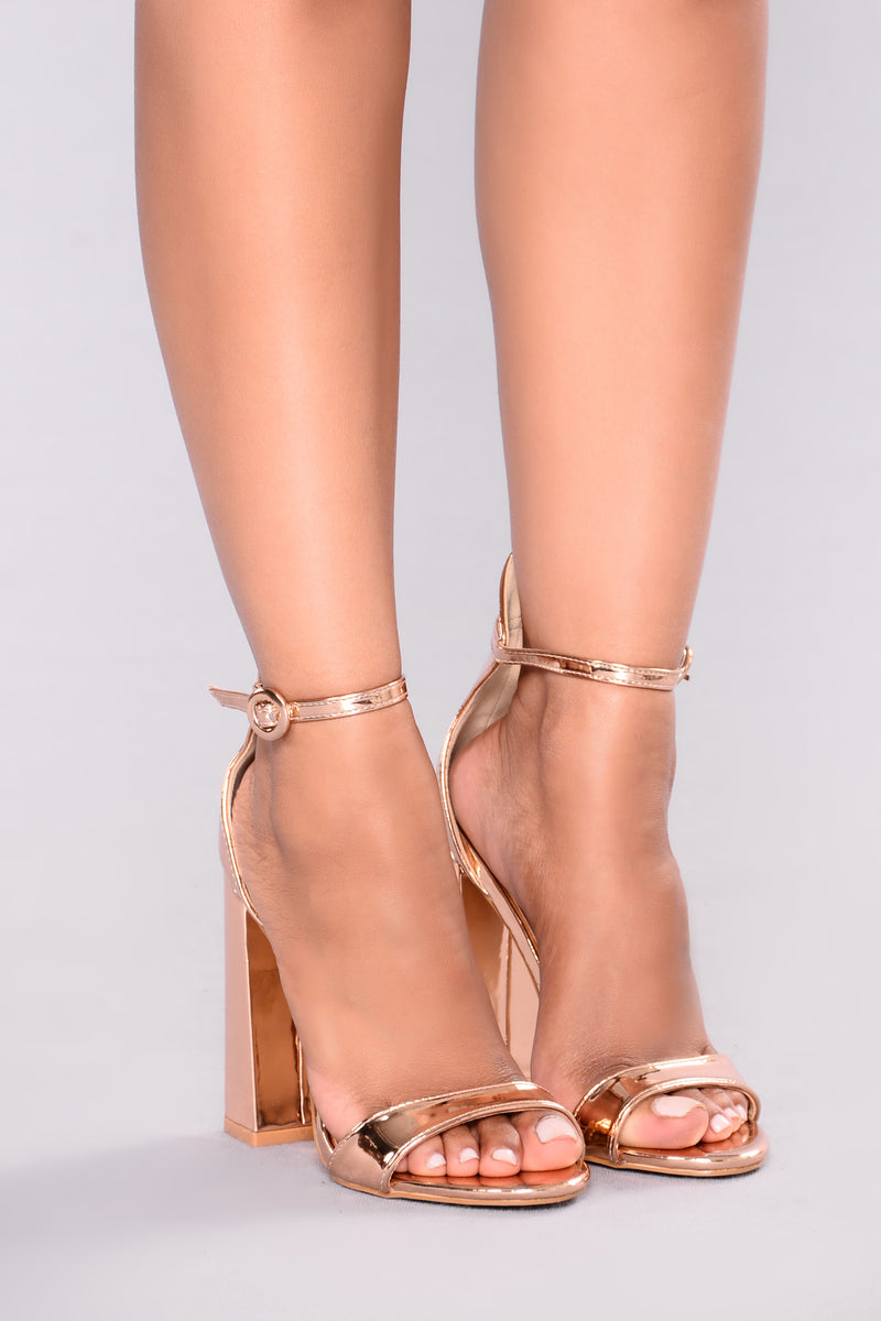 Violet Block Heel - Rose Gold