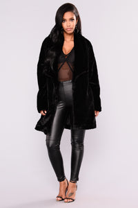 Keep It Cozy Faux Fur Jacket  - Black