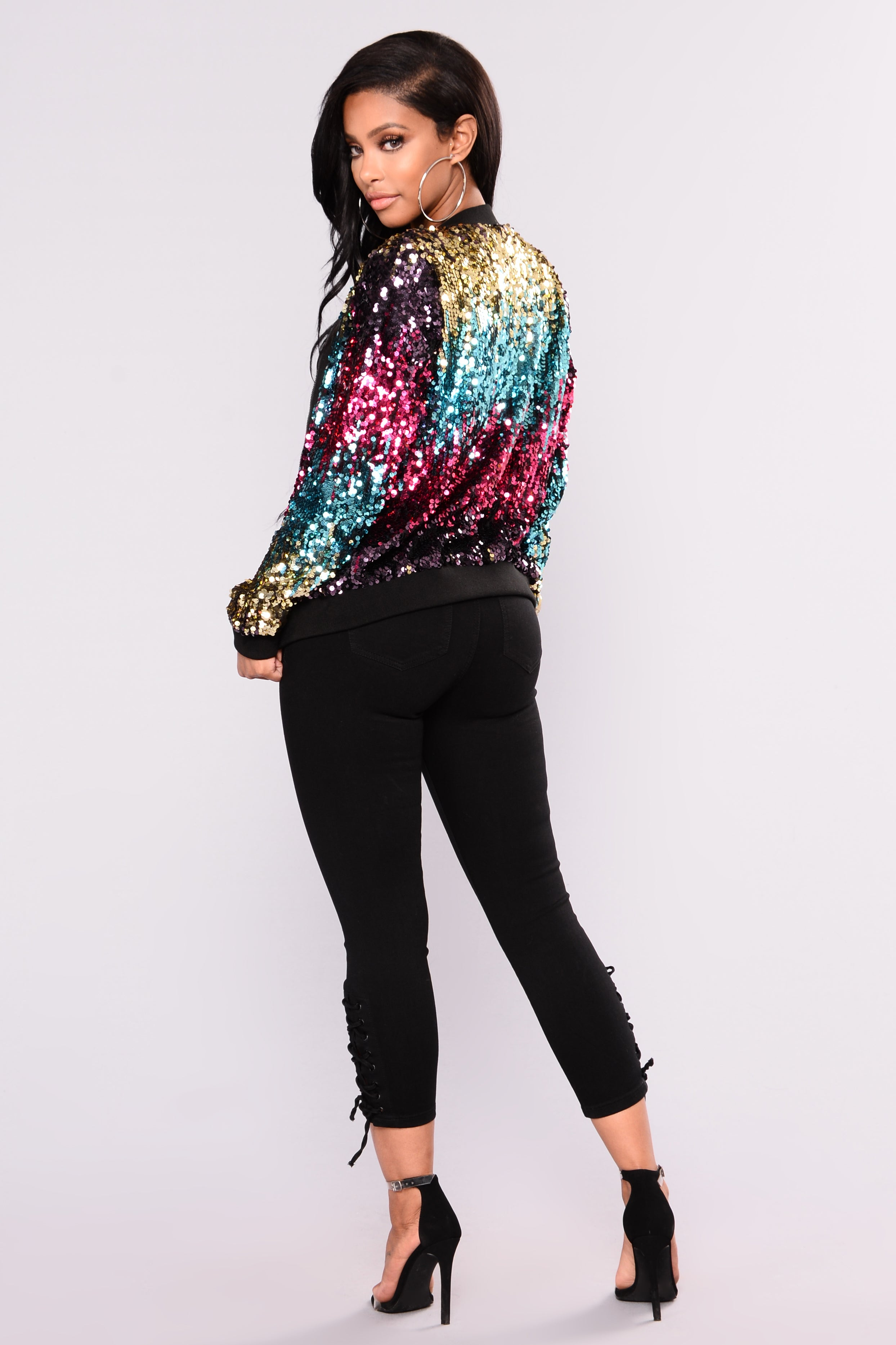 1ace5a33703e7 Sequin Bomber Jacket - Gold Pink