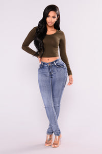 My Boy Scoop Neck Crop Tee - Olive