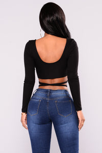 My Private Jet Wrap Top - Black