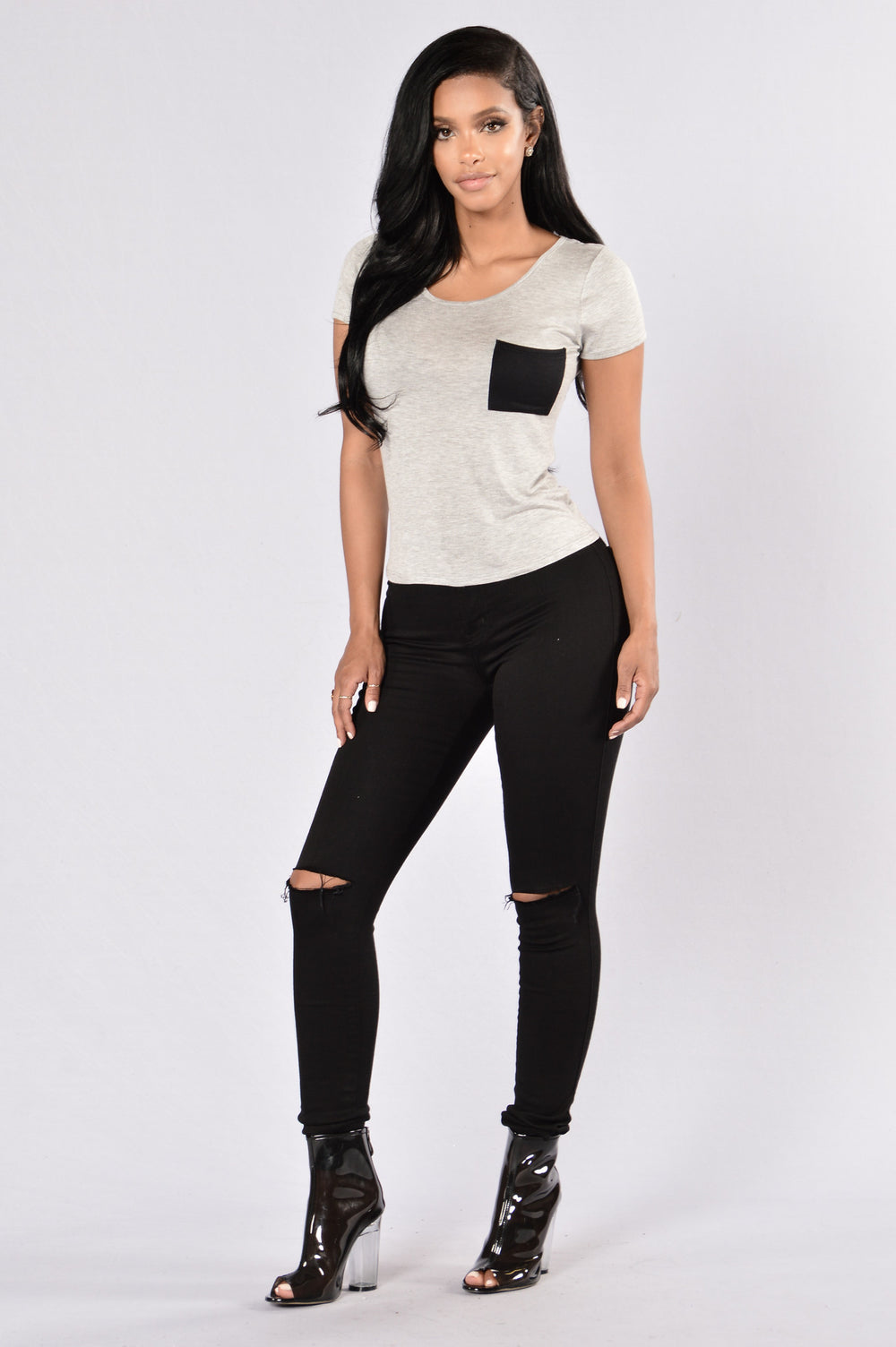 Polly Pocket Crop Tee - Heather Grey/Black