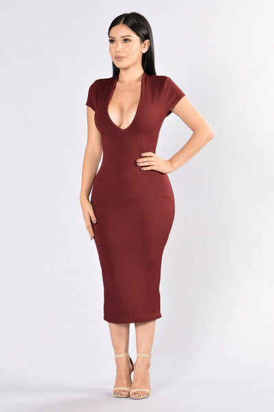 Friendly Fire Dress - Burgundy