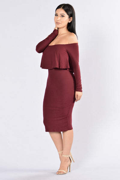 Off On My Own Dress - Wine/Burgundy