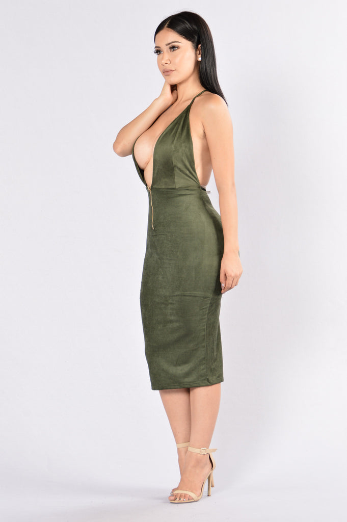 Deep In The Dark Dress - Olive